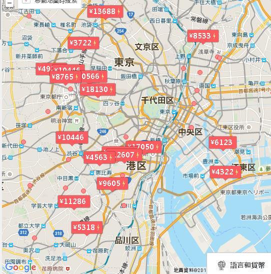 東京の地図と価格