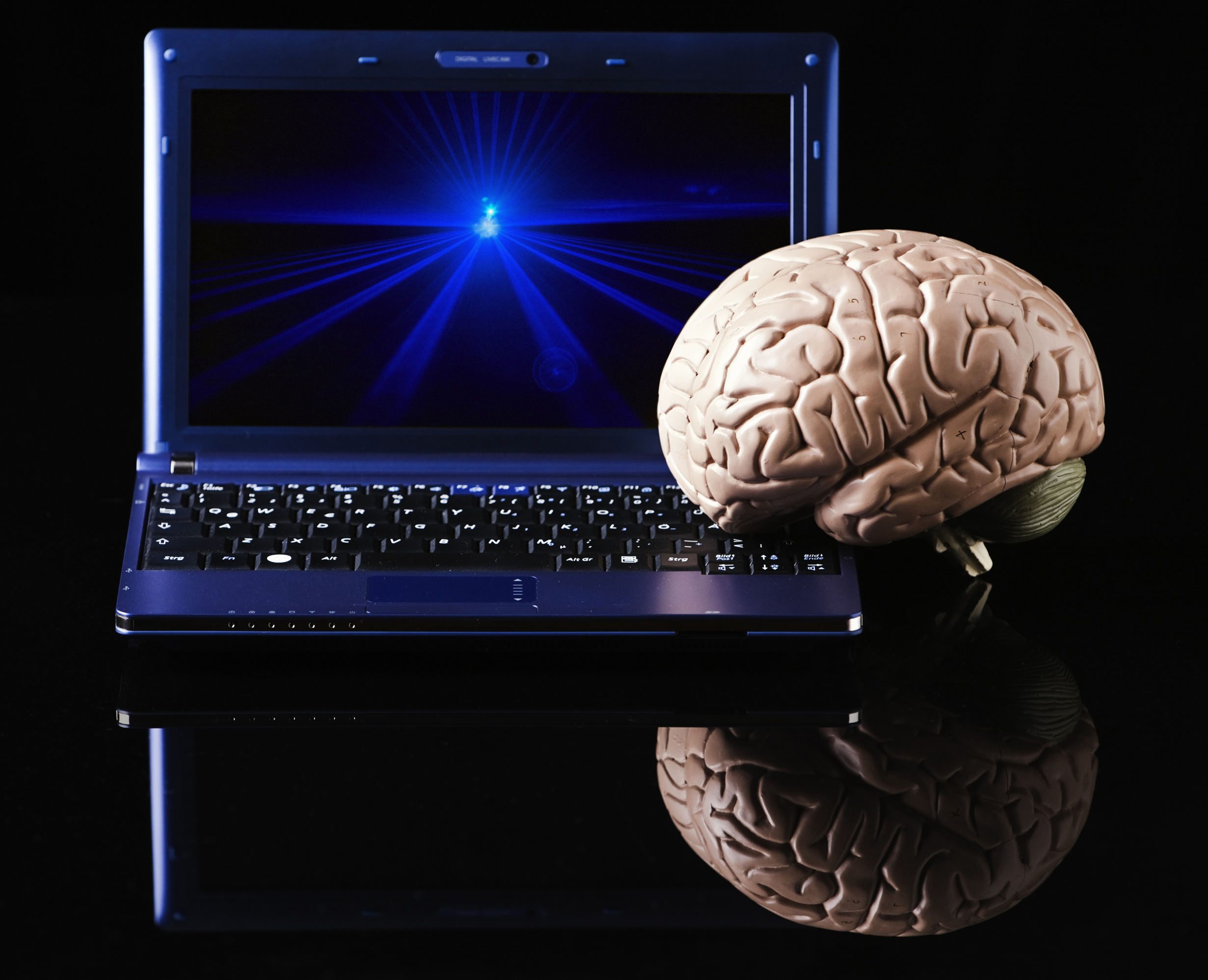 Brain brings computer to life. A Frankenstein moment.