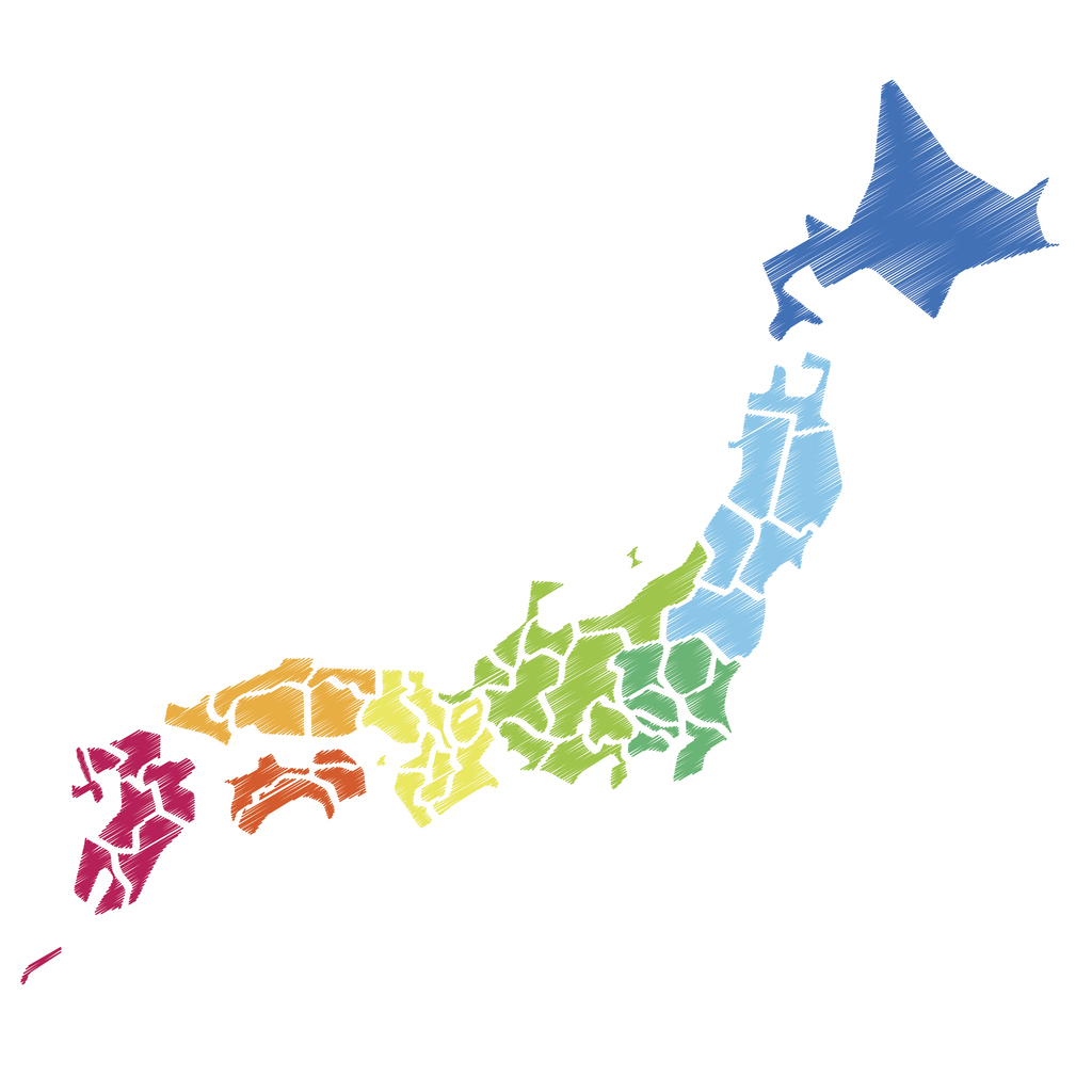 Eight of Japan map with color-coded in a rural location.